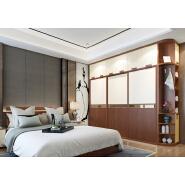Easy design pvc door particle board bedroom double color wardrobe design