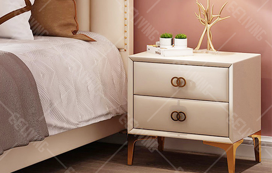 Modern Luxury White Leather Bedside Nightstands
