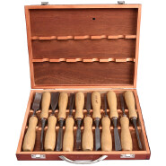 12 Pieces Woodworking Chrome Vanadium Steel With Wooden Case Carving Knife Tools Chisel Set