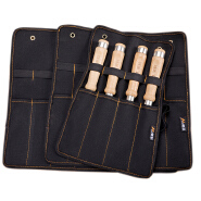 Canvas Pocket Tool Roll Holder Wrench Pouch 4 Pockets Organizer For Knife Hammers Gouges Carpenter Chisel Carrying Case
