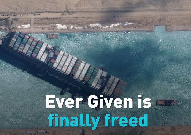 The ship blocking the Suez Canal is finally on the move