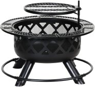 bbq grill charcoal Wood Burning Fire Pit, 32 Inch Outdoor Backyard Patio Fire Pit Black
